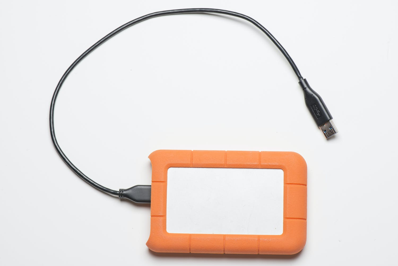Hårdfør ekstern harddisk, der kan tages med på fototur.