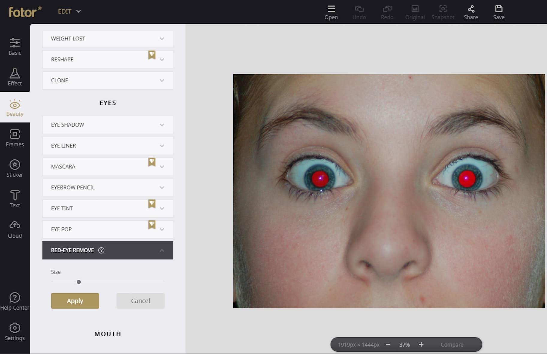 röda ögon dator