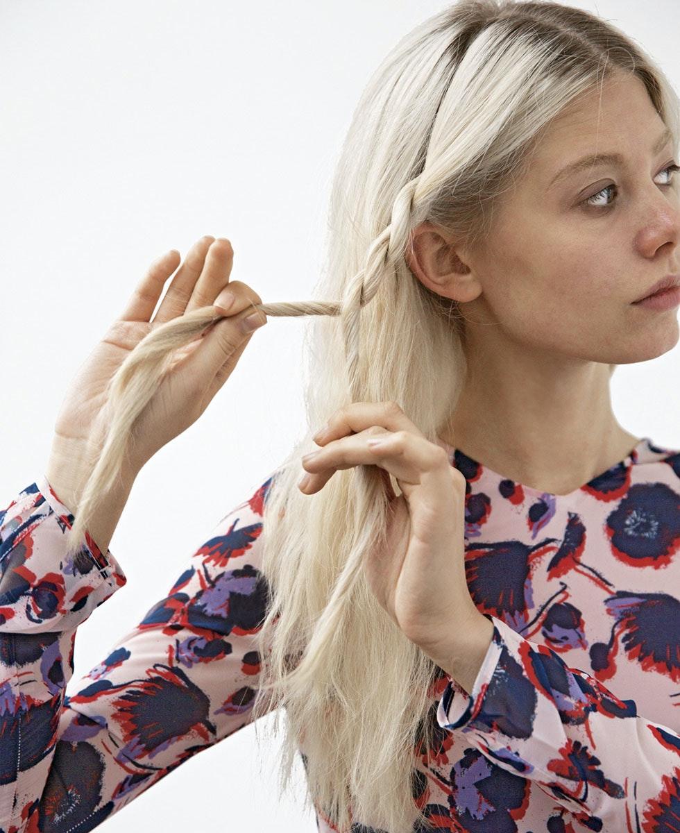 fletting av langt hår