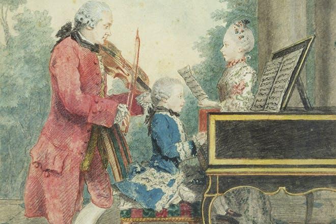 De kleine Mozart trad met zijn zus aan allerlei Europese hoven op. Vader Leopold was zelden tevreden met de betaling.