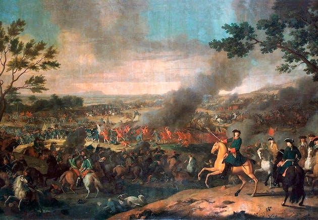El zar Pedro el Grande en primer plano durante la batalla de Poltava