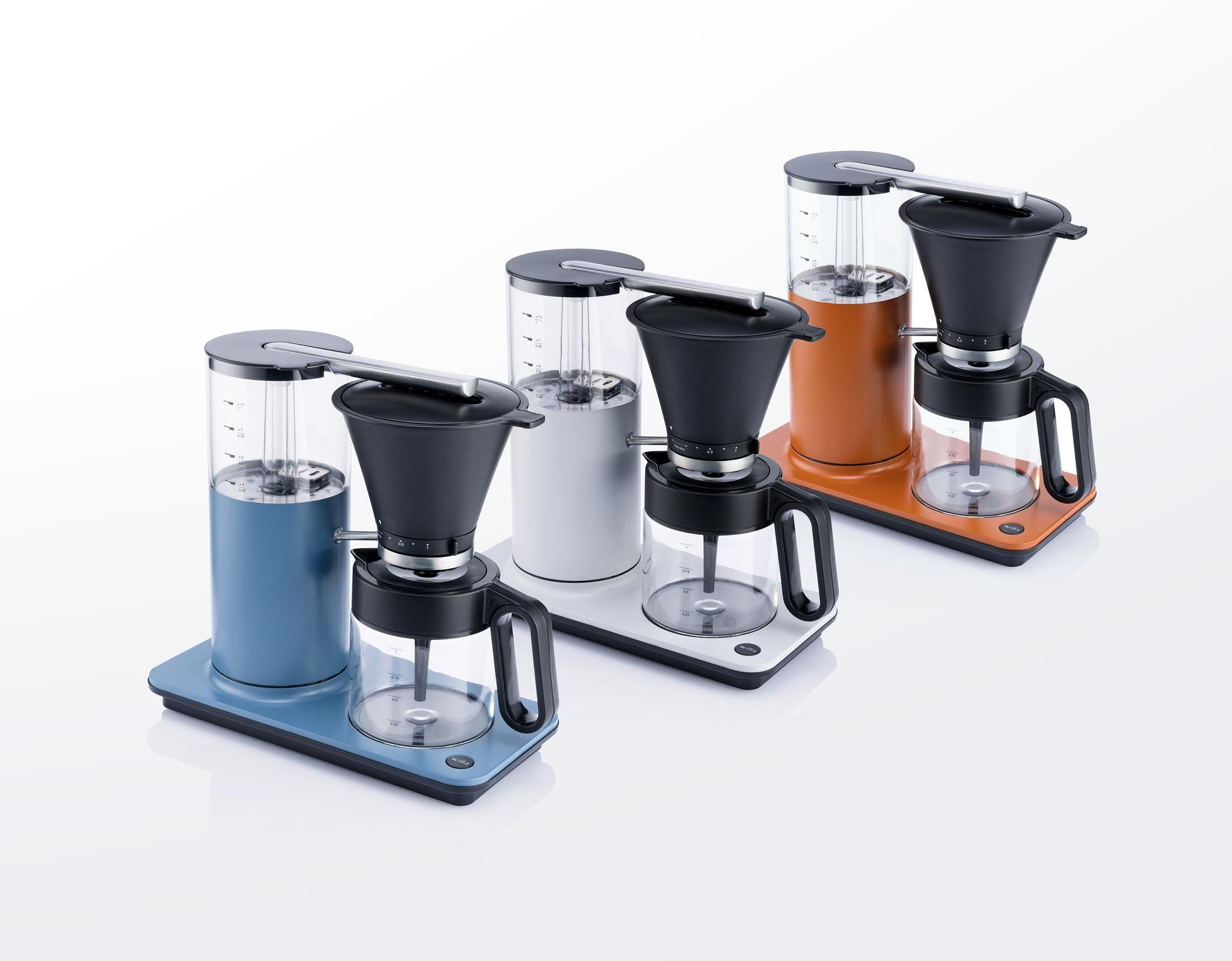 Blå, hvit og oransje kaffetrakter fra Wilfa