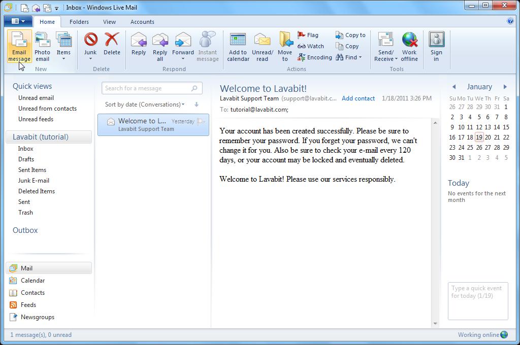 opret en live mail